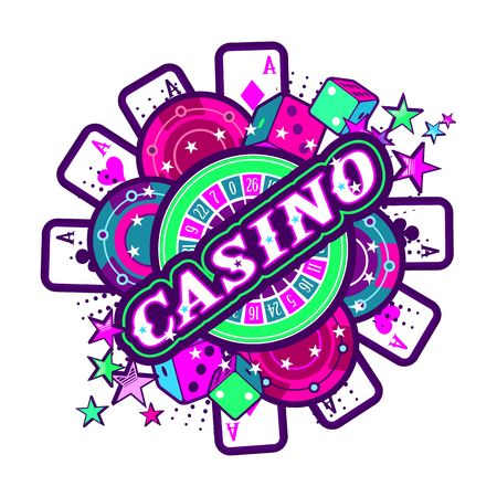 Casino Party Vector game of roulette and dice, emblem gambling machines, the glowing neon sign on a white background