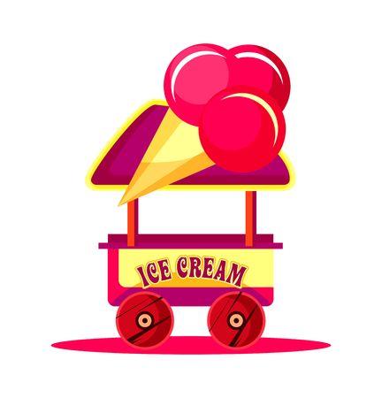carretto gelati: illustrazione vettoriale di un carretto dei gelati per luna park, divertimenti, carnevale, isolati su uno sfondo bianco Vettoriali