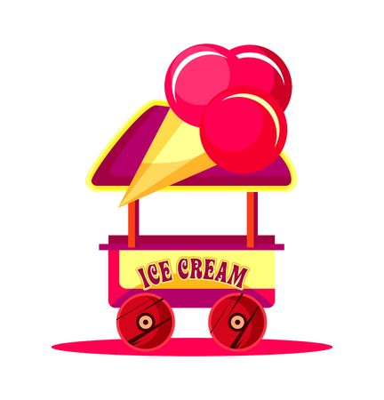 fairs: vector illustration of an ice cream cart for fun fairs, amusement, carnival, isolated on a white background
