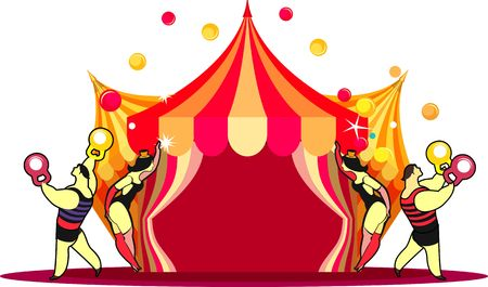 Illustration of a circus tent with acrobats and circus actors strong men on a white background
