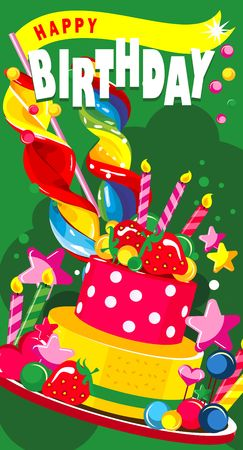 Illustration of a vertical greeting card - Happy Birthday Illustration
