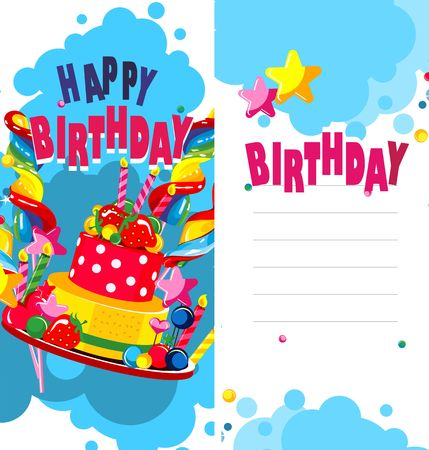 pasteboard: Illustration of birthday cake and sweets on a bilateral leaflet