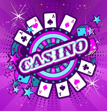 Casino Party Vector game of roulette and dice, emblem gambling house, gambling machines, the glowing neon sign Illustration