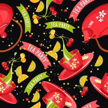 green fruit tea seamless pattern square shape with a cup of tea with saucer and ripe berries on a black background