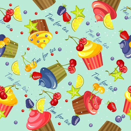 fruitcakes: sweet treats seamless pattern of cupcakes in the glaze and berries on a blue background