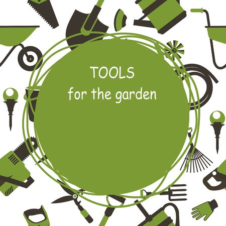 seamless pattern Set of icons of garden tools, work equipment Design element for advertisment Ready for a text green white 向量圖像