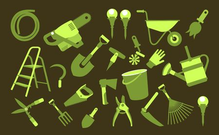 Vector illustration set of icons of garden tools, work equipment on a black background