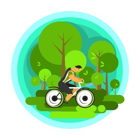 scenic spots: Vector illustration of a cyclist traveling through scenic spots alone Illustration