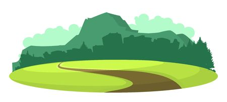 vector illustration horizontal landscape summer day mountains on the horizon in plain videde semicircular plateau road