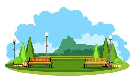 vector illustration horizontal landscape summer day mountains on the horizon in plain videde semicircular plateau Illustration