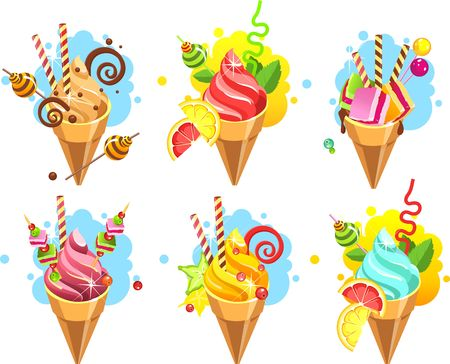 Set of ice cream cones of whipped cream of different color and taste pieces of candy filled with sweets marshmallows, straws, isolated on white layout.