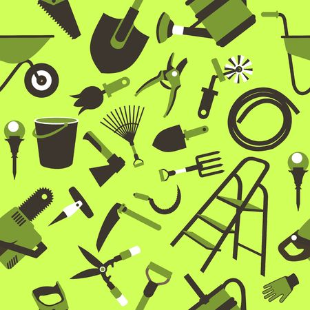 seamless pattern Set of icons of garden tools, work equipment Design element for advertisment