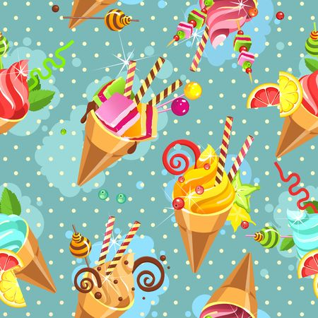 Seamless pattern ice cream cones of whipped cream of different color and taste pieces of candy filled with sweets marshmallows, straws, on a blue background with dots Illustration
