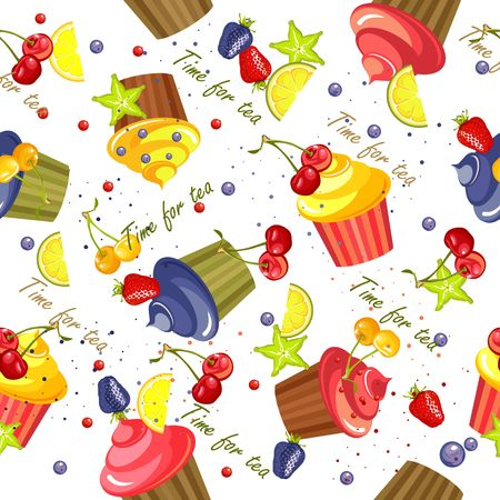 fruitcakes: Artistic sweet treats seamless pattern of cupcakes in the glaze and berries on a white background.