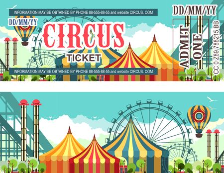 Ticket for the performance and event for the magical show carnival circus amusement park two sides second confusing without information