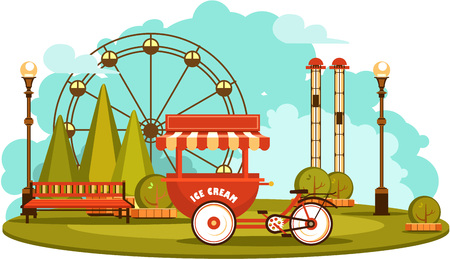 carretto gelati: Vector illustration Amusement park and recreation trolley with ice cream cheerful fair show