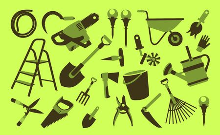 Vector illustration set of icons of garden tools, work equipment on a green background Illustration