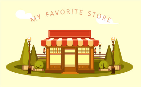 Vector clipart Fun and leisure park facade of a small ice cream shop among cut figured trees