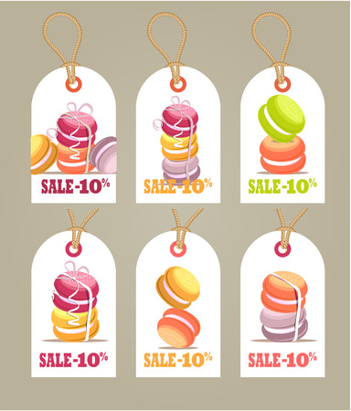 Vector illustration tag for the bakery shop sweets sweet macaroons bonuses sale discount in percent coupons for gifts