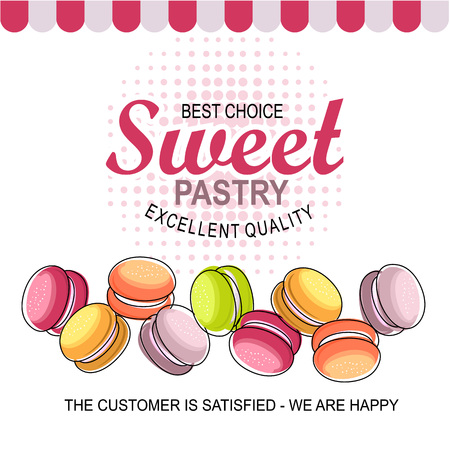 Vector illustration store sweets bakery macaroons pattern design for menu and advertising