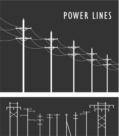 high tension: Vector image set of high-voltage poles black-and-white design element