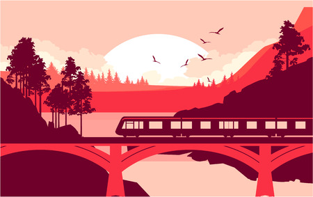 high speed train: Vector illustration of a locomotive, a train riding at high speed on a railway bridge in a mountain wilderness. Illustration
