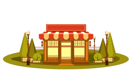 Vector Clipart Fun and leisure park facade of a small ice cream shop among cut figured trees Illustration