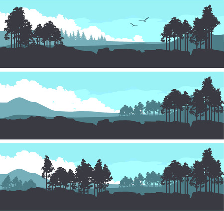 Vector Illustration set of horizontal banners fictional landscape twilight suburb of forest silhouettes trees blue color