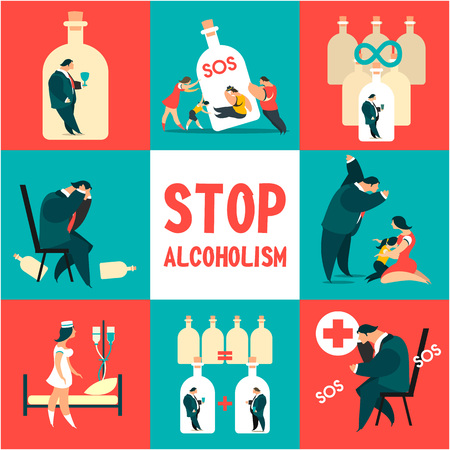Icon set problem alcoholism Иллюстрация