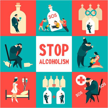 Icon Set Problem Alkoholismus Standard-Bild - 76578464