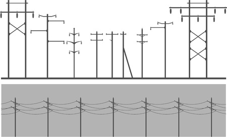 high tension: Vector image set of high-voltage poles on a white background design element