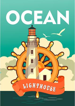 ship steering wheel: Sea travel vintage poster Illustration