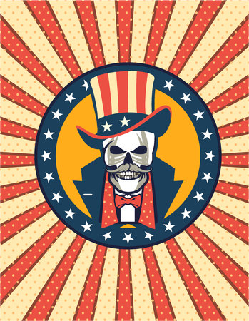 AVector illustration of a human skull gentleman in a hat with American flag symbols Illustration
