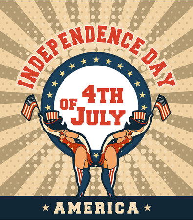 burlesque: Vector illustration of a retro poster of Independence Day america two girls in tights and hats with national signs