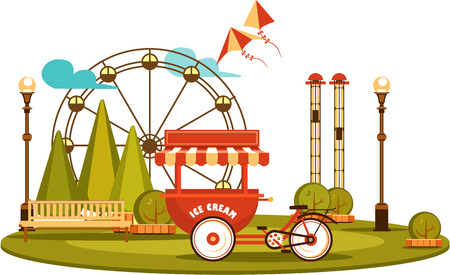 carretto gelati: Vector illustration Amusement park and recreation trolley with ice cream cheerful fair show isolated