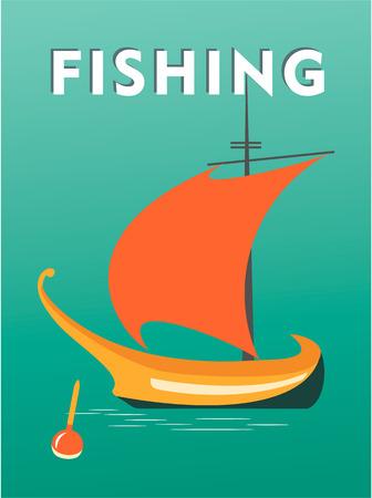 Vector illustration sailfish fishing on a vintage poster sea theme travel Stock Vector - 78339778
