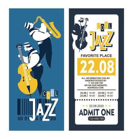 contrabass: Vector illustration vintage poster music ticket for jazz festival presentation