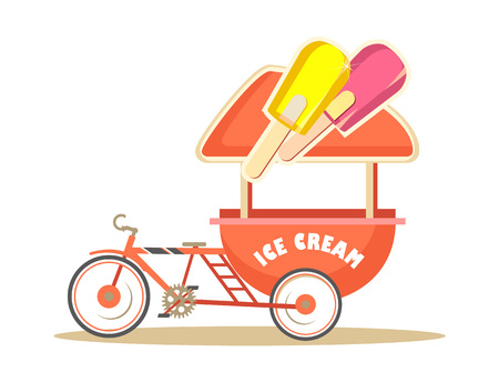 sunshade: Vector illustration trolley for ice cream street food on white background flat style