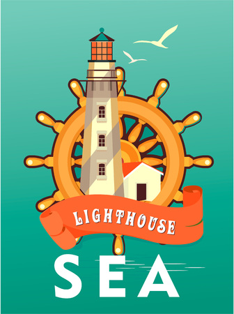 Vector illustration ocean lighthouse and steering wheel on a vintage poster sea theme travel.