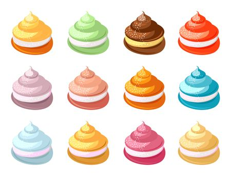 lowfat: Set of multicolored marshmallows on a white background vector illustration