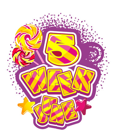 synopsis: Vector illustration badge summing up the month, soft sign with sweet candy June.