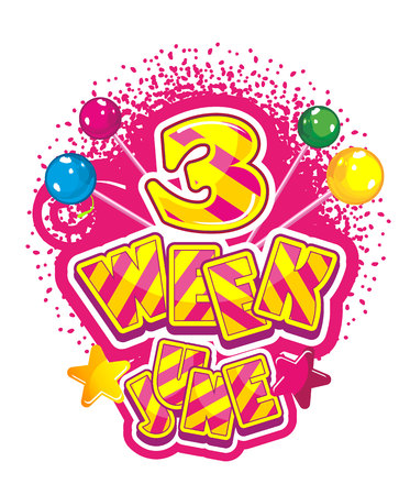 synopsis: Vector illustration badge summing up the month, soft sign with sweet candy June