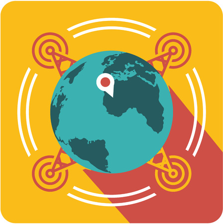 Vector business sign square shape icon network coverage around the world