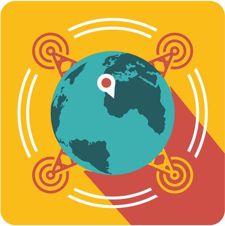 Vector zakelijke teken vierkante vorm pictogram dekking van het netwerk over de hele wereld