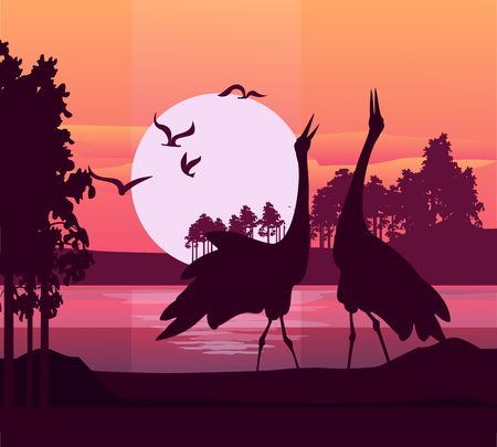 Vector illustration of a silhouette of a heron bird on the background of a river at sunrise Illustration
