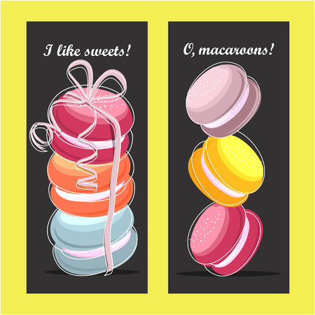 Vector illustration coupon for a bakery shop sweet macaroons bonuses sale discount gift cards