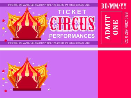 Ticket for the performance and event for the magical show carnival circus amusement park
