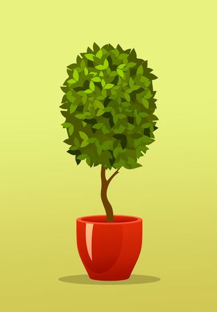 trim: Vector illustration of a garden seedlings a tree in a box in a pot of retro postcard