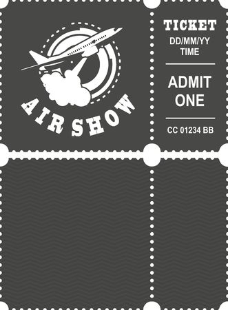 Vector illustration ticket countermark for aviation show simple black and white Illustration