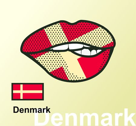 Vector illustration of lip painted Denmark flag isolated, foreign language national symbols